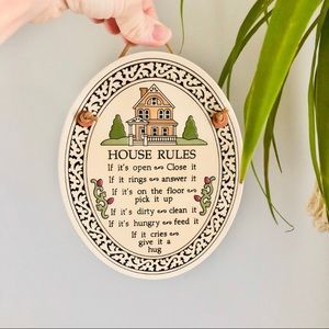 Vintage House Rules Hanging Sign Wall Decor Floral